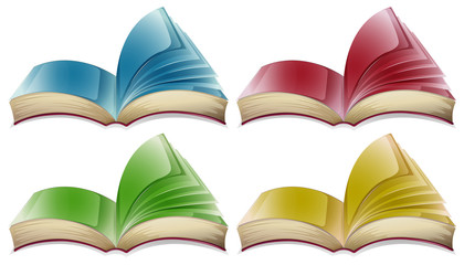 Books in four different colors