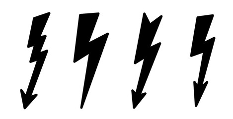 Vector  illustration icon of black lightning.