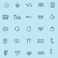 Vector illustration. Universal linear icons: job, sports, shopping and etc