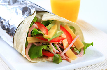 Ham and cheese salad wrap sandwich