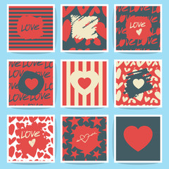 Happy valentines day and weeding cards. Set