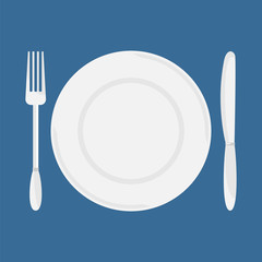 Plate, knife and fork. Dining etiquette. Foods Service icon. Menu card. Simple flat vector illustration, EPS 10.