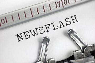 Typewriter detailed macro closeup typing text Newsflash large detail vintage press TV radio internet mass media journalism metaphor newspapers magazines broadcasting journalist news flash concept