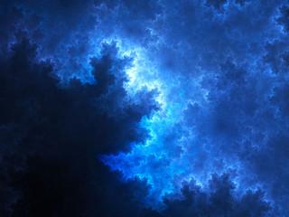 Blue glowing spherical fractal