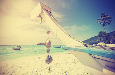 Retro stylized tropical beach, summer holidays concept.
