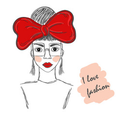 Hand drawn sketch of the cute fashion girl in glasses with a red bow. Fashion vector illustration.