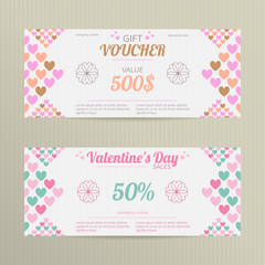 Vector gift vouchers with random colored hearts. Great for Valentine's Day sales. Vector gift coupons. Set of holiday vouchers.