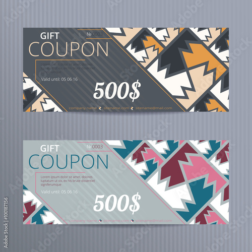 Gift voucher with elegant design. Gift card template. Coupon ...