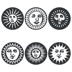 Sun faces. Vector illustration