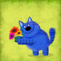 Blue Fluffy Cat With Three Flowers