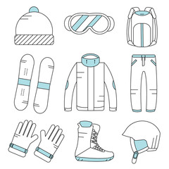 Vector linear snowboard equipment icons set. Winter sport activities icons. Gloves, boots, helmet, snowboard, ski suit, hat, sunglasses, backpack.