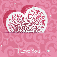 Pink heart applique Valentine card