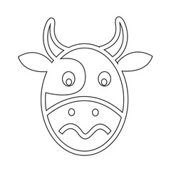 Cow Face emotion Icon Illustration sign design