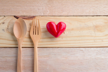 heart object with spoon and fork