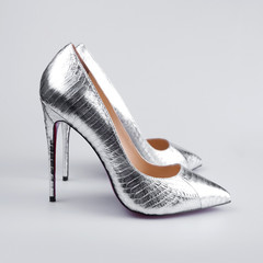 Silver high heels pump shoes