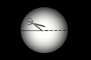 Esfera, tijeras, cortar, recortar, fondos, fondo negro