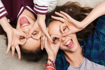 happy smiling pretty teenage girls having fun