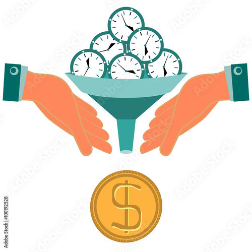 time is money hours clock turn into gold dollar coin funnel i