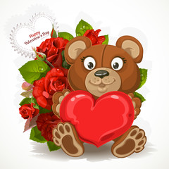 Teddy bear holding a heart with a bouquet of flowers and valenti