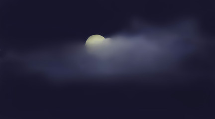 Moon between clouds in midnight. Illustration