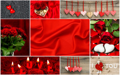 Valentines Day. Red hearts, rose flowers, decoration