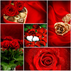 Red roses. Hearts. Valentines Day