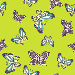 Hand drawn butterfly ink doodle seamless pattern. Sketched insects on salad green background.
