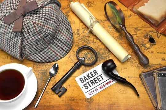 Sherlock Holmes Deerstalker Cap And Other Objects On Old Map