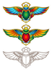 Egyptian Scarab Colorful Vector Illustration 3
