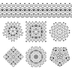 Vector set of abstract floral and circular patterns and borders. Mandalas. Japanese emblems. Flowers. Seal.
