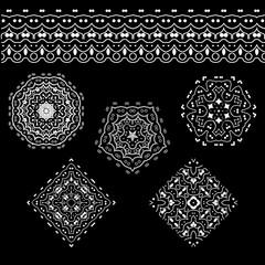 Vector set of abstract floral and circular patterns and borders. Mandalas. Japanese emblems. Flowers. Seal.