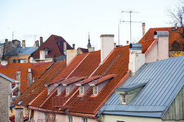 Old Tallinn city roofs