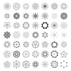 Vector set of abstract floral and circular patterns. Mandalas. Japanese emblems. Flowers. Seal.