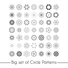 Vector set of abstract floral and circular patterns. Mandalas. Japanese emblems. Flowers. Seal.