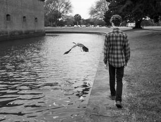 Trendy teenager and bird