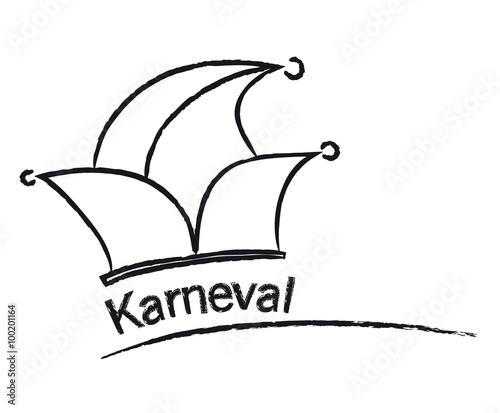 """karneval  narrenkappe mit bunten zipfeln und goldenem"