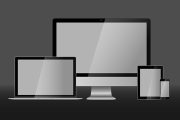 Realistic vector illustration of laptop, desktop computer, tablet and smart phone on grey background