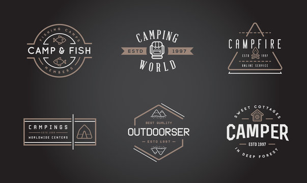 Set of Vector Camping Camp Elements With Fictitious Names and Outdoor Activity Icons Illustration can be used as Logo or Icon in premium quality