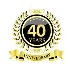 40 anniversary with glossy golden wreath and ribbon