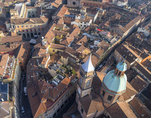aerial view to church and street in Bologna in Italy