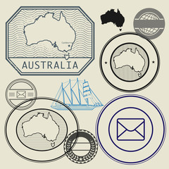 Stamp set with the text and map of Australia