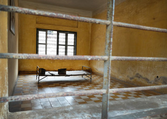 Tuol Sleng prison of the Khmer Rouge high school S-21 turned into a torture and execution center on March 17, 2015 in Phnom Penh, Cambodia.