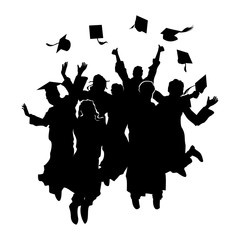 Happy Jumping Graduation Student Silhouette