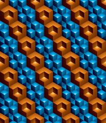 Futuristic continuous multicolored pattern, illusive motif abstract