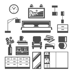 Bedroom Furniture Icons Set