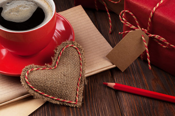 Valentines day heart, gifts and coffee