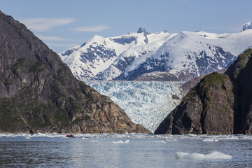 Scenic views of the south Sawyer Glacier in Tracy Arm-Fords Terror Wilderness Area in Southeast Alaska, United States of America, North America