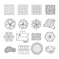 Landscape garden design elements set line