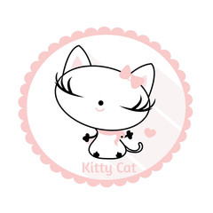 Pretty Kitty for fabrics or paper or badges etc.