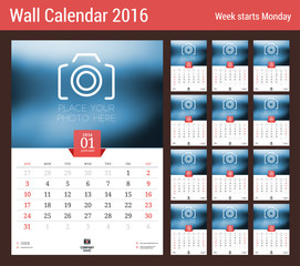 Calendar Set for 2016 Year. Vector Stationery Design Print Template. Week Starts Sunday. 12 Pages
